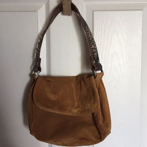 Tyler Malibu Suede Caramel flap handbag purse